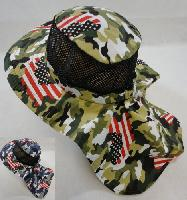 Cotton Boonie Hat with Cloth Flap [Mesh] *Army Camo/Flag Print